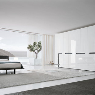 Example of a minimalist bedroom design in Philadelphia with white walls and no fireplace