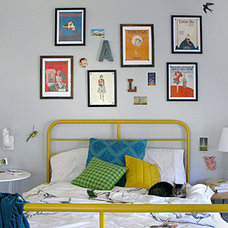 Eclectic Bedroom bed