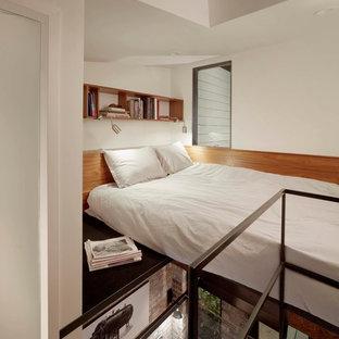 Bedroom - contemporary bedroom idea in San Francisco with white walls