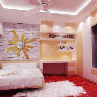 Ejemplo de dormitorio principal, contemporáneo, de tamaño medio, sin chimenea, con paredes blancas, suelo de baldosas de cerámica y suelo blanco