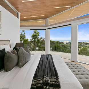 This is an example of a contemporary master bedroom in Sunshine Coast with white walls, light hardwood floors and beige floor.