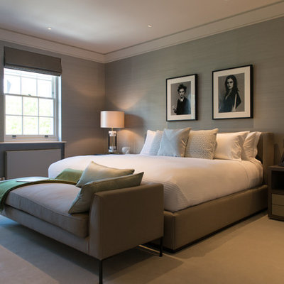 Inspiration for a contemporary bedroom remodel in London with gray walls