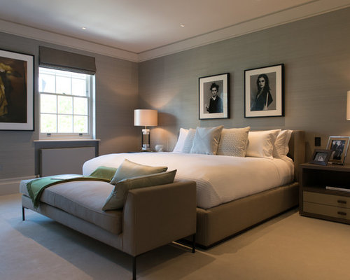 Elegant Inspiration For A Contemporary Bedroom Remodel In London With Gray Walls