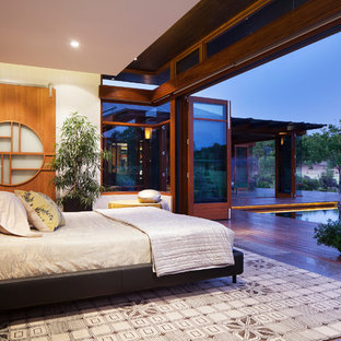 Inspiration for a large master bedroom remodel in Perth with white walls