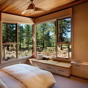 На фото: гостевая спальня среднего размера в стиле рустика с бежевыми стенами и ковровым покрытием с