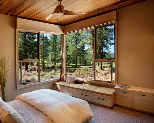 bedroom window seat. Example of a mid sized mountain style guest carpeted bedroom design in  Sacramento with beige Bedroom Window Seat Houzz