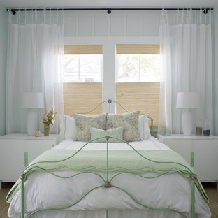 Bedroom - large shabby-chic style guest carpeted and brown floor bedroom idea in Atlanta with white walls
