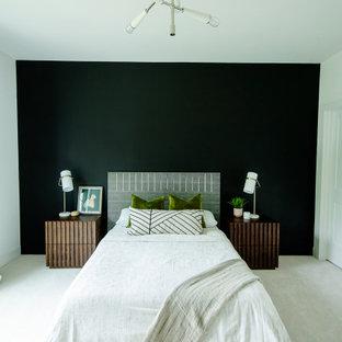 Modelo de habitación de invitados contemporánea con paredes negras, moqueta y suelo blanco