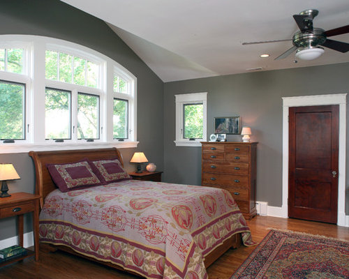 Mid Sized Arts And Crafts Master Bedroom Photo In DC Metro With Gray Walls  And Part 76