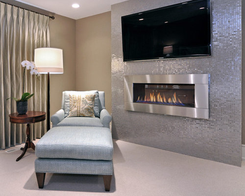 Transitional Small Master Bedroom Bedroom Design Ideas Remodels Photos With A Metal Fireplace