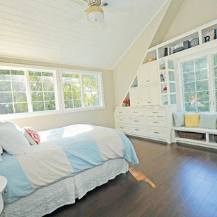 Example of a transitional dark wood floor bedroom design in Milwaukee with beige walls
