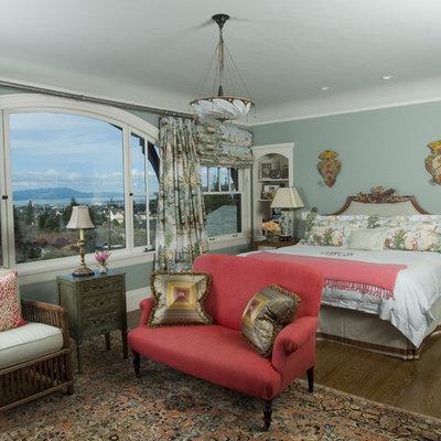 Bedroom - traditional dark wood floor bedroom idea in San Francisco with blue walls