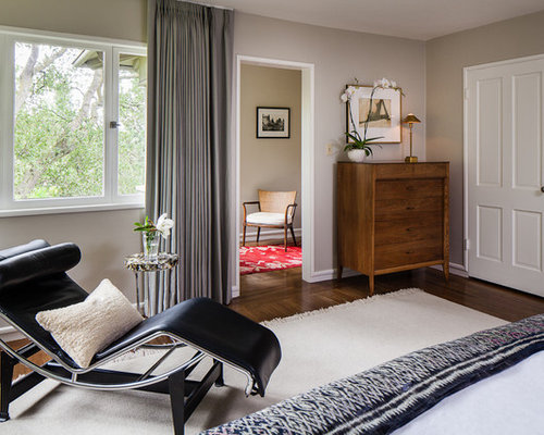 Inspiration For A Contemporary Bedroom Remodel In San Francisco With Beige  Walls, Dark Wood Floors