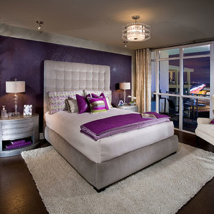 Inspiration For A Large Contemporary Master Dark Wood Floor And Brown Bedroom Remodel In Orange