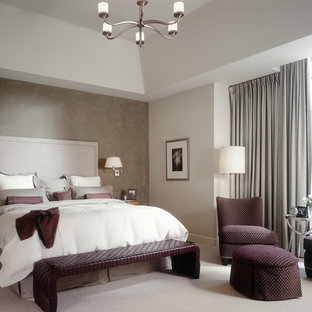 Example of a transitional carpeted bedroom design in Detroit with gray walls