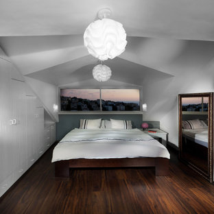 Example of a trendy dark wood floor bedroom design in Other with white walls