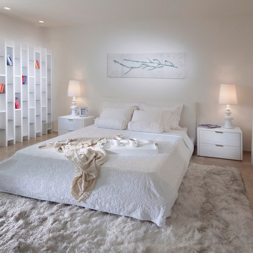 Contemporary Bedroom Idea In Other With White Walls