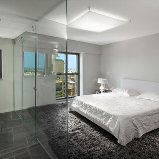 Inspiration for a contemporary master bedroom in Other with white walls, no fireplace and slate floors.