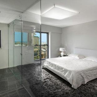 Свежая идея для дизайна: хозяйская спальня в современном стиле с белыми стенами и полом из сланца без камина - отличное фото интерьера