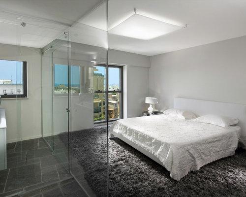 chambre contemporaine avec un sol en ardoise photos et id es d co de chambres. Black Bedroom Furniture Sets. Home Design Ideas