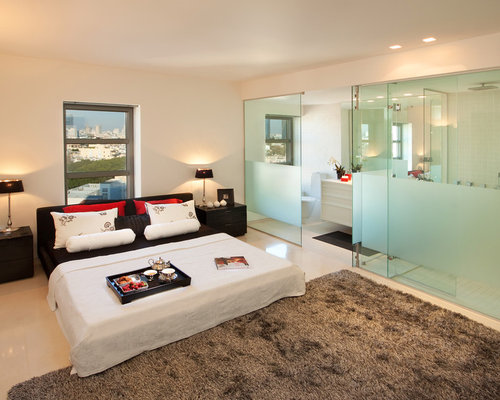 Glass wall houzz for Bedroom designs with attached bathroom and dressing room