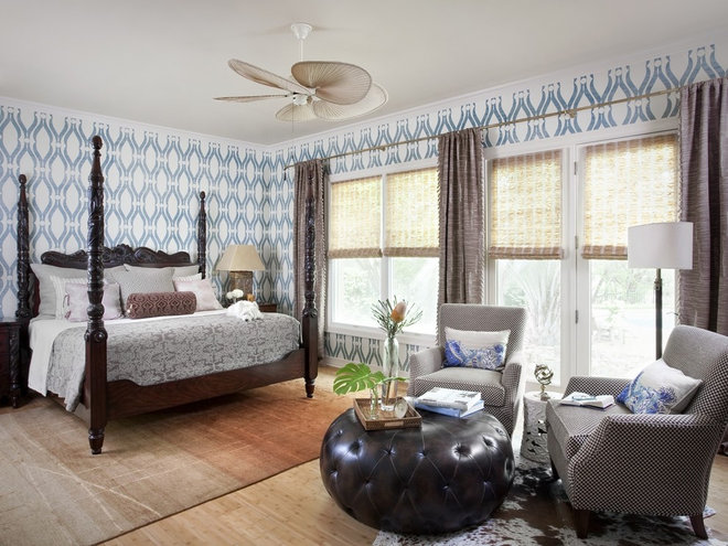 Tropical Bedroom by Shorelines Interiors by Gregory