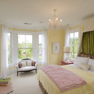 Inspiration for a timeless carpeted bedroom remodel in Atlanta with yellow walls and no fireplace