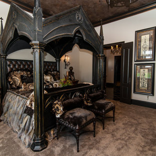 Example of a large ornate master carpeted bedroom design in Dallas with white walls
