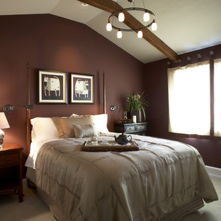 Bedroom - traditional carpeted bedroom idea in San Francisco with brown walls