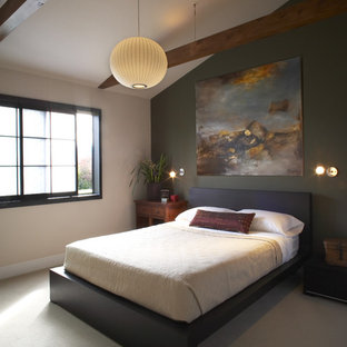 Example of a zen carpeted bedroom design in San Francisco with green walls