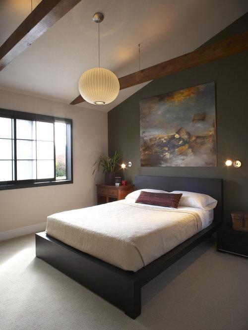 Asiatisches Schlafzimmer Mit Grüner Wandfarbe Und Teppichboden In San  Francisco