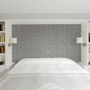 Inspiration for a transitional bedroom remodel in Boston with white walls