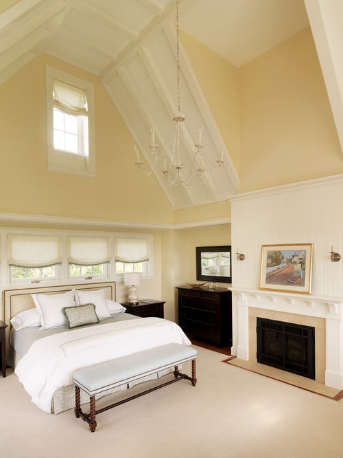 Elegant Bedroom Photo In Boston With Beige Walls And A Standard Fireplace
