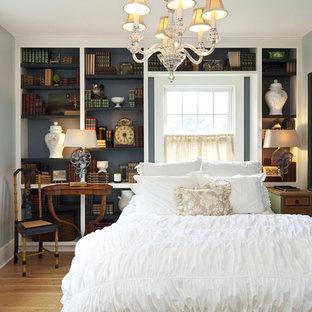 ミネアポリスのトラディショナルスタイルのおしゃれな客用寝室 (青い壁、淡色無垢フローリング、暖炉なし) のレイアウト