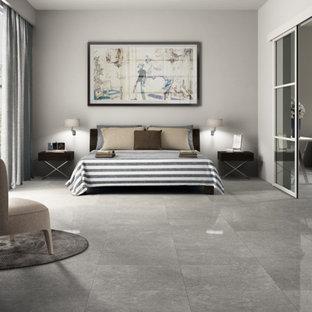 Свежая идея для дизайна: хозяйская спальня в современном стиле с белыми стенами, полом из керамогранита и серым полом - отличное фото интерьера