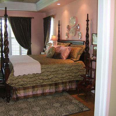 Example of a classic bedroom design in Richmond with pink walls