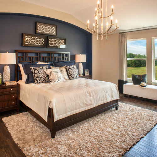 accent walls in bedroom. Example of a transitional master dark wood floor and brown bedroom  design in Other with Accent Wall Ideas Houzz
