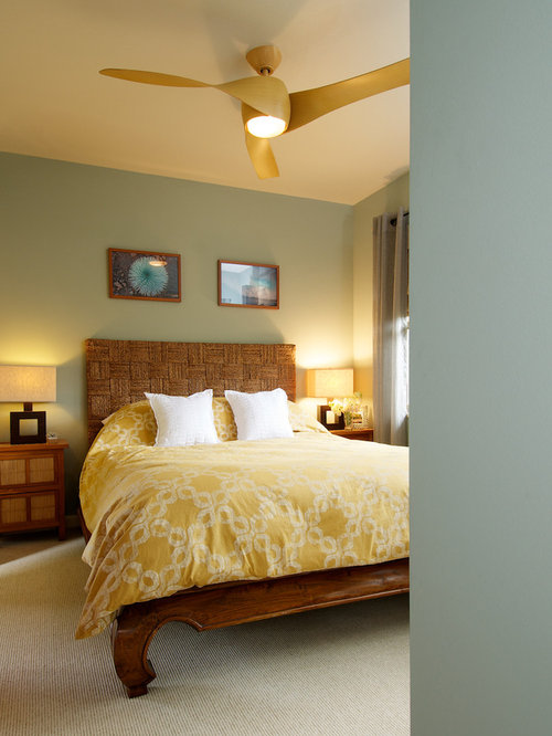 example of an island style bedroom design in los angeles with green walls - Bali Bedroom Design