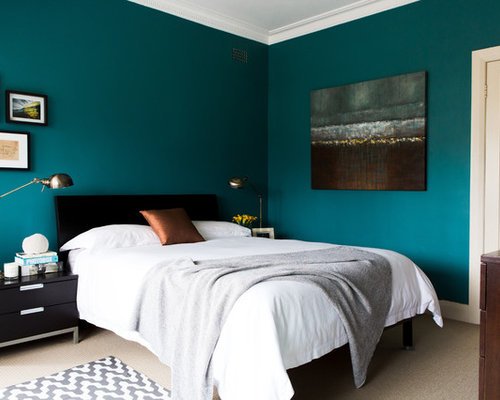 Chambre mur bleu canard photos et id es d co de chambres - Chambre mansardee bleu 2 ...