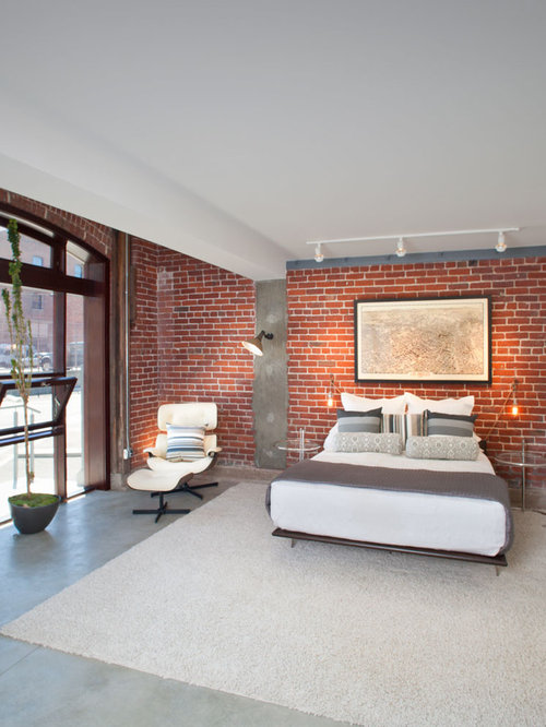 Interior brick walls houzz Brick wall bedroom design
