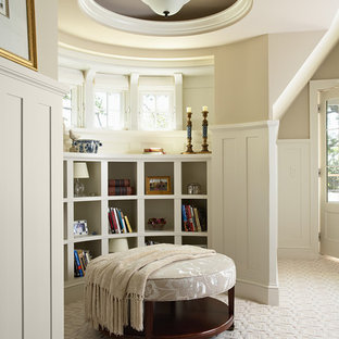 Inspiration for a traditional bedroom in Minneapolis with beige walls and carpet.