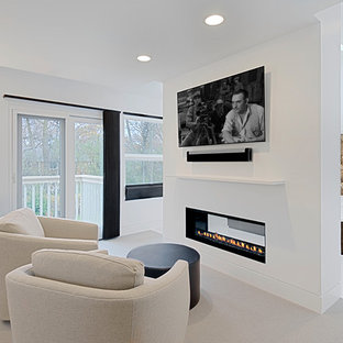 Bedroom sitting area with fireplace