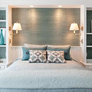 Elegant bedroom photo in Boston with blue walls