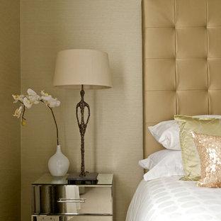 Trendy bedroom photo in Edinburgh with beige walls