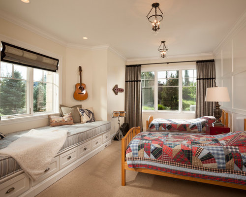 Example of a classic bedroom design in Salt Lake City with white walls