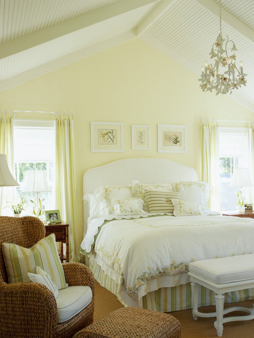Inspiration for a mid-sized beach style master bedroom remodel in  Minneapolis with yellow walls