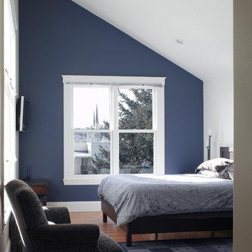 Bedroom with cathedral ceiling