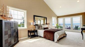 Bedroom with Light Carpet Flooring