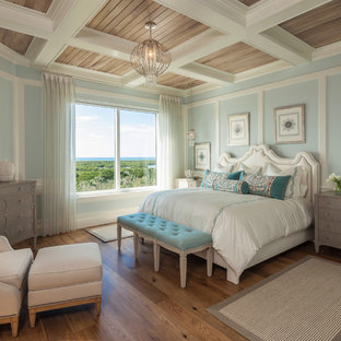 Example of a large beach style master medium tone wood floor bedroom design in Miami with blue walls