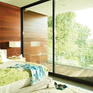 Design ideas for a large modern master bedroom in Chicago with brown walls, carpet, no fireplace and beige floor.